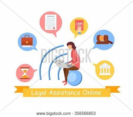 Consumer, Social Law Service Web Banner Template. Female Legal Assistant, Lawyer Cartoon Vector Char
