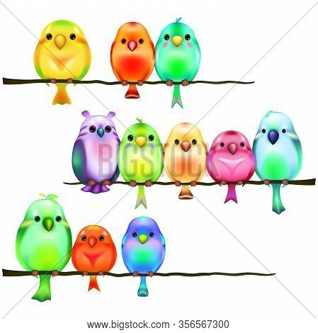 Funny Colorful Cartoon Little Birds Are Sitting On A Branch. Vector Illustration