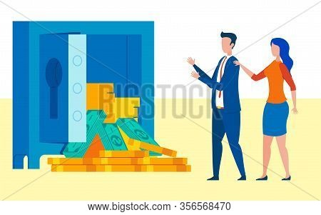 Company Winning Money Grant For Development. Businessman Pay Raise Vector Illustration. Colleague Co