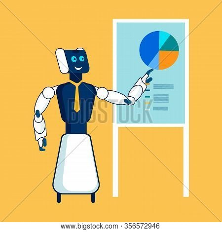 Robotic Analyst Delivers Report Flat Illustration. Electronic Expert Making Presentation Cartoon Cha