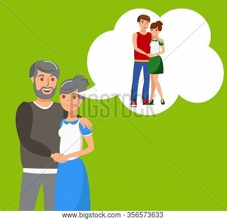 Senior Couple Hugging Flat Vector Illustration. Happy Elderly Man And Woman Remembering Youth Cartoo