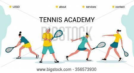 Tennis Academy, Summer Tennis Camp.the Concept Of Junior Sports Training.site Template For The Home