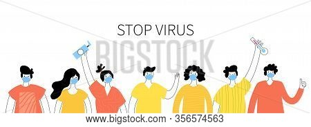 People In Masks Standing In Line Fighting Against Infection. Protection From Virus Illness And Coron
