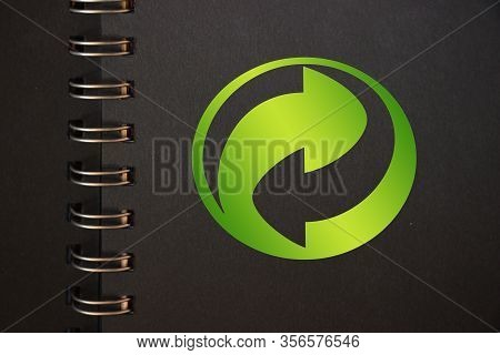 Conceptual Recycling Reusing Sign In Black Copybook. Reduce Reuse Recycle Concept