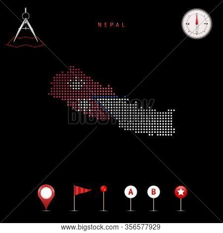 Dotted Map Of Nepal Painted In The Colors Of The National Flag Of Nepal. Waving Flag Effect. Map Too