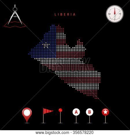 Dotted Map Of Liberia Painted In The Colors Of The National Flag Of Liberia. Waving Flag Effect. Map