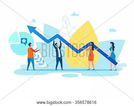 Cartoon People, Men And Women Holding Growth Graph, Zigzag Arrow. Foliage Backdrop. Teamwork Metapho