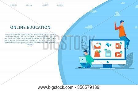Landing Page Mockup Offering Online Education. Social Media Application For E-learning. Man Using La