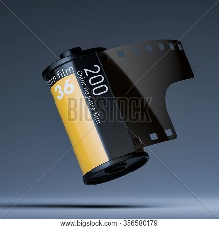 Film Or Photo Roll Tape Record. Film Or Photo Strip. Film Tape. 3d Rendering.