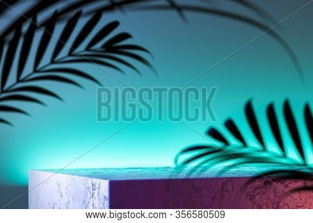 Concrete Foursquare Showcase On Aquamarine Background And Near Tropic Leaves. 3d Rendering.
