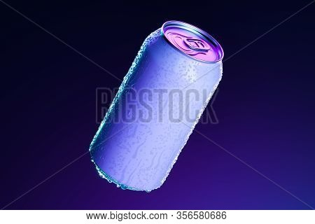 White Aluminum Can With Cold Water Droplets Isolated On Dark Blue Background, 3d Rendering. Empty Sp