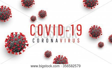 Coronavirus Disease Covid-19 Medical Web Banner With Sars-cov-2 Virus Molecule And Text On A White B