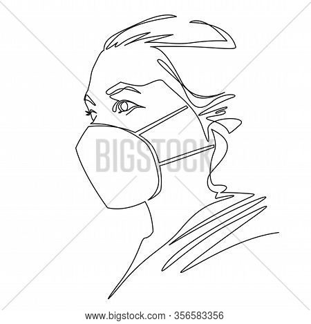 One Line Drawing Of Woman Wearing Disposable Medical Face Mask To Protect Against High Air Toxic Pol