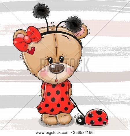 Cartoon Cute Teddy Bear Girl In A Ladybug Costume And Ladybug