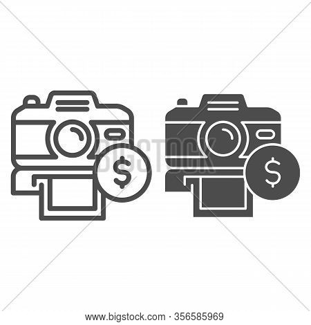 Selling Photos On Stock Line And Solid Icon. Photocamera And Dollar Coin Symbol, Outline Style Picto
