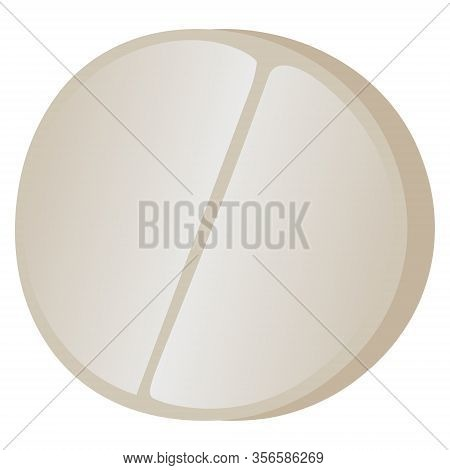 Color Vector Illustration - A Round Flat Tablet Made Of Pressed Powder With A Risk In The Middle. Me