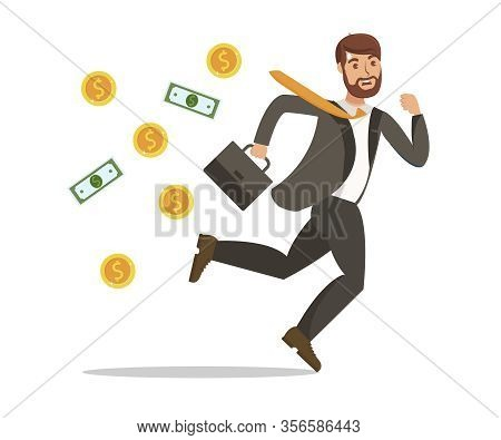 Financial Trouble, Money Loss Vector Illustration. Young Businessman In Suit Running Away Cartoon Ch