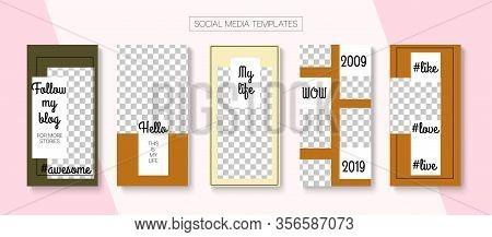 Social Stories Cool Vector Layout. Online Shop Elegant Graphic Mobile. Trendy Sale, New Arrivals Sto