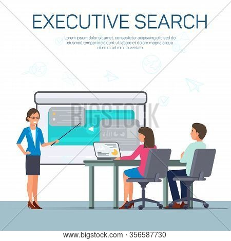 Hiring Top Executive Flat Vector Banner Template. Cartoon Candidate Making Presentation, Showing Pro