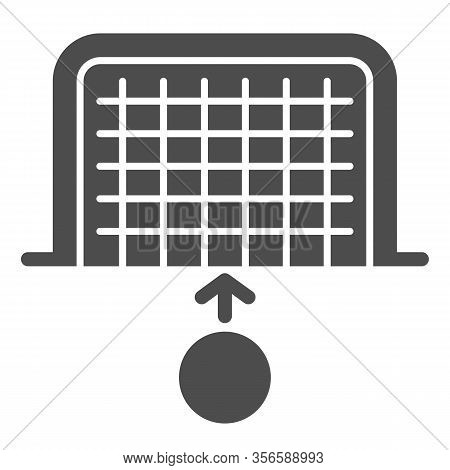 Goal And Ball Solid Icon. Soccer Gate With Soccer-ball, Penalty Or Attack Symbol, Glyph Style Pictog