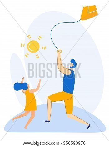 Informative Banner Summer Kite Launch Cartoon. Enhancing Creativity And Productivity. Dad Launching