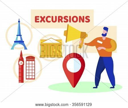 Informative Banner Inscription Excursions Flat. Flyer Short Tours In Near Abroad. Advertising Poster