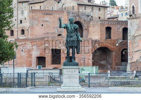 Bronze Monumental Statue Of The Caesar Nervae Trajan On Background Forum Of Caesar Nervae, Rome, Ita
