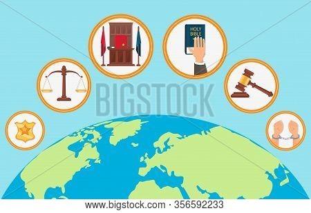 Judicial System Symbols Flat Vector Illustration. Litigation Process Universal Principles. Arrest, I