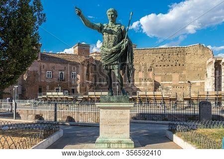 Bronze Monumental Statue Of The Caesar Augustus, Rome, Italy