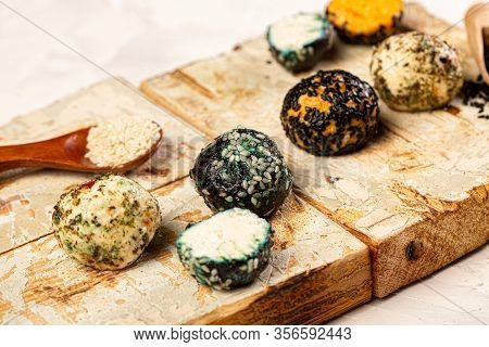 Farm Cottage Cheese Close Up On Wooden Background Protein Healthy Diet Eco Product. Copy Space.