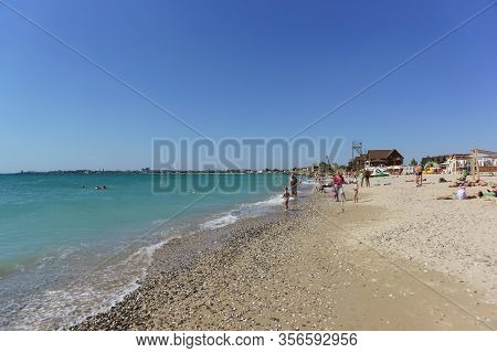Yevpatoria, Crimea, Russia-12 September 2019: New Beach On The Outskirts Of The Resort Town. The Whi