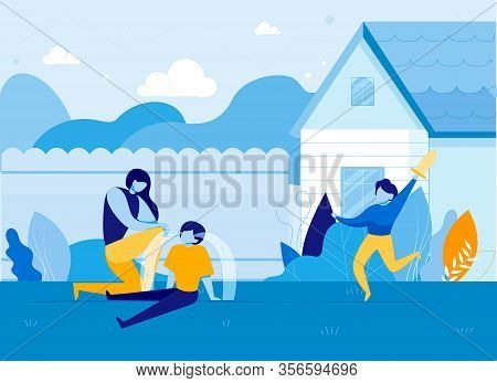 Mother Looking At Crying Child On House Backyard Flat Cartoon Vector Illustration. Woman Calming Dow
