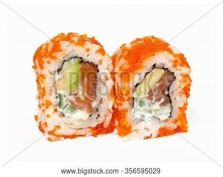 Two Rolls With Salmon, Avocado, Cucumber And Tobiko Isolated On White Background