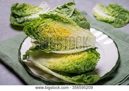 Fresh Green Raw Romaine Or Cos Lettuce