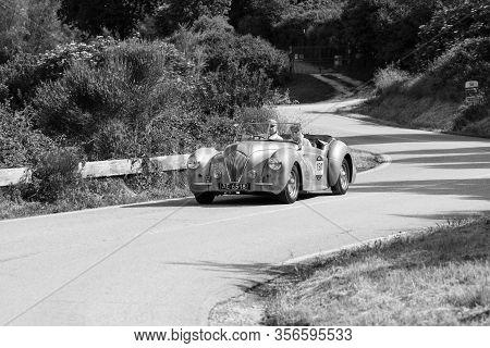 Pesaro Colle San Bartolo , Italy - May 17 - 2018 : Healey 2400 Westland 1947 On An Old Racing Car In