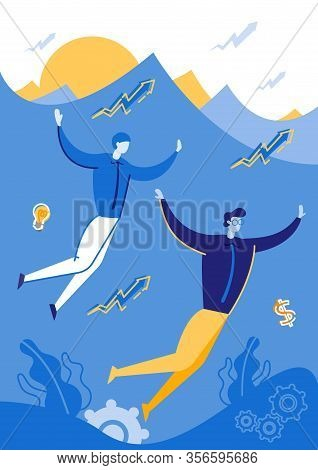 Two Man Simming Undewater Flat Cartoon Vector Illustration. Business Company Growth. People In Menag