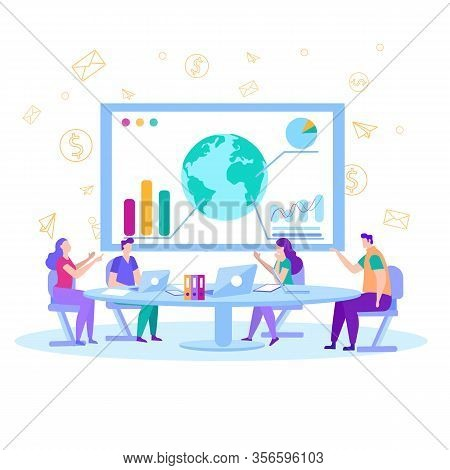 Business Meeting Briefing Devoted To World Statistics In Charts Graphs Men Women Financial Analysts