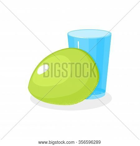 Green Coconut Fruit And Glass In Cartoon Style. Asian Coco Summer Drink. Young Healthy Tropical Food