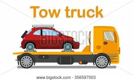Vehicle Evacuation Company Banner Flat Template. Tow Truck Carrying Passenger Auto Isolated Illustra