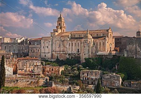 Gravina In Puglia, Bari, Italy: Landscape Of The Old Town With The Ancient Santa Maria Assunta Cathe