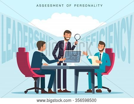 Workers Efficiency Assessment Flat Banner Template. Hr Experts Evaluating Employees Leadership Skill