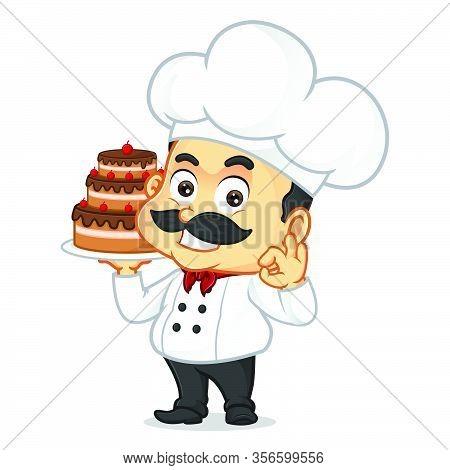 Chef Cartoon Serving Cake