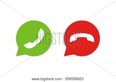 Handset Call In Bubble Isolated Icon Vector. Flat On White Backdrop