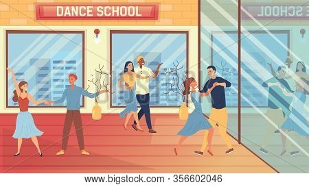 Dance School Concept. People Are Having A Dance Lessons. Characters Dancing In Pairs In The Classroo