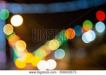 Color Bokeh Large Circles Of Light Scattered Celebration Atmosphere