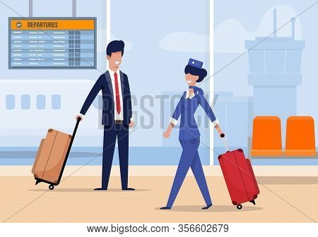 Stewardess At Airport Comes With Suitcase Flat. Beautiful Stewardess Uniform Walks With Suitcase At