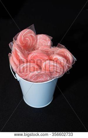 Lollipops Candy Swirly Inside White Bucket Black Background Table Top