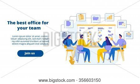 Landing Web Page Best Office For Business Team. Men And Women, Startup Owners Discuss Company Affair