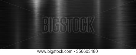 Black brushed polished metal plate or texture