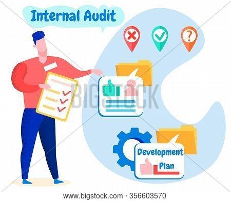 Man With Notebook Report In Hand. Internal Audit. Internal Audit. Employee Evaluates Development Pla